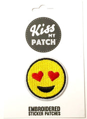 Emoji Hearts Embroidered Adhesive Patch