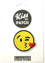Emoji Kissy Face Embroidered Adhesive Patch