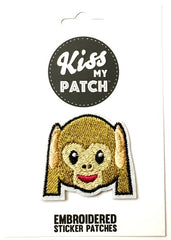 Monkey Emoji Embroidered Adhesive Patch