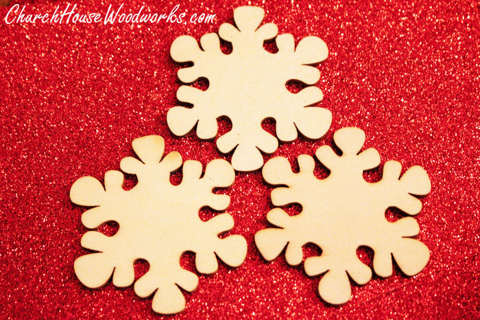 Wood Snowflake woodcraft shapes for Christmas