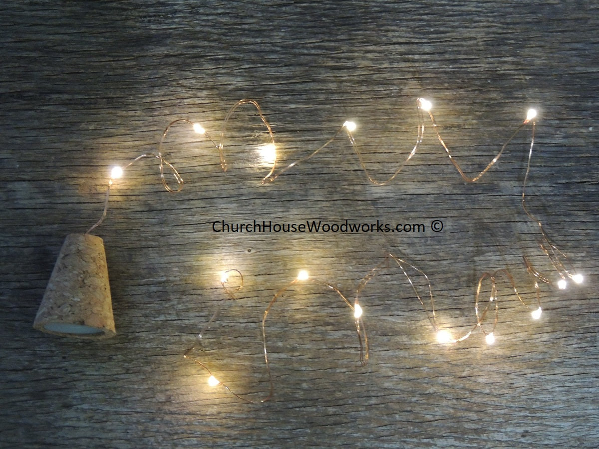 Blinking LED REAL Cork Wine Bottle Lights string light warm white on copper wire