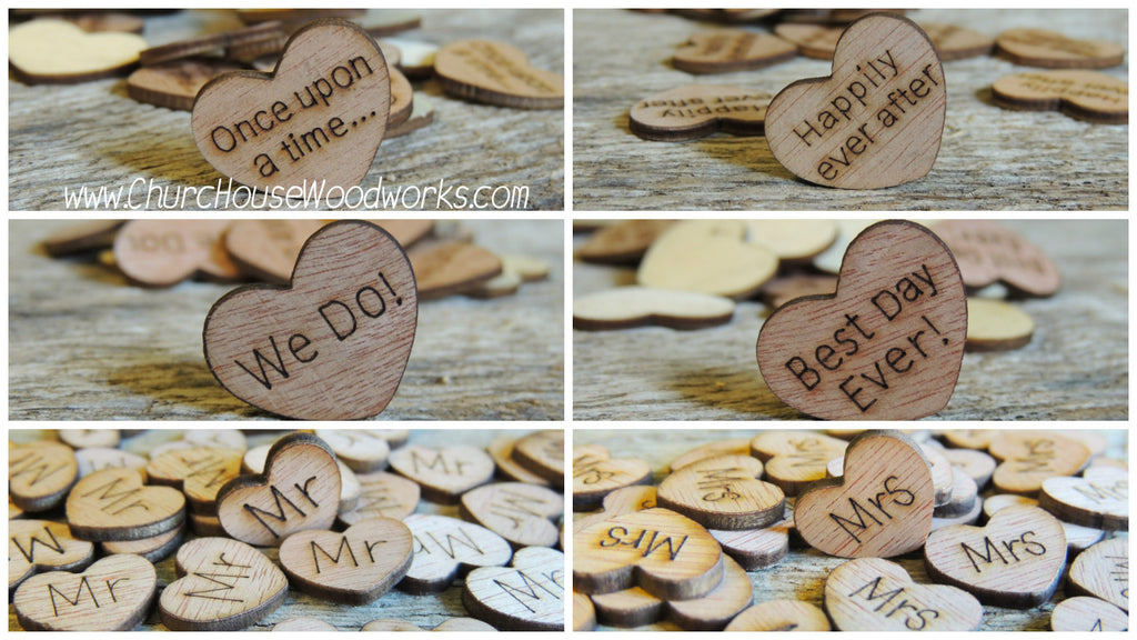 Wood Heart Wedding Confetti- Mr., Mrs, I Do, We Do, Bride, Groom, Happily Ever After, Once Upon A Time, Best Day Ever by Church House Woodworks. Great for Rustic Weddings, Barn Weddings, Farm Weddings, Country Weddings, Shabby Chic Weddings