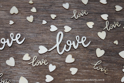 Wooden Cursive love Words and Mini Heart Mix