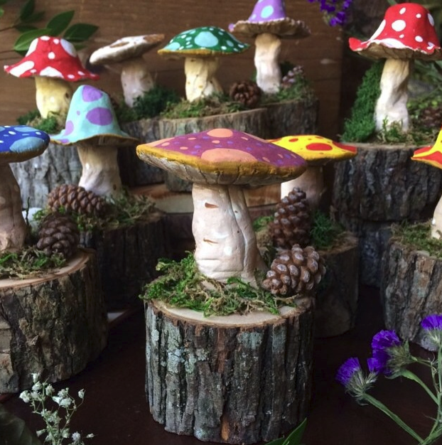 fairy garden toadstool mini stumps mushrooms