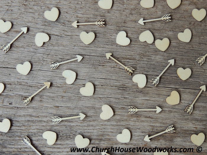 Little Wooden Arrows, Cupid, and Hearts for Crafts and Decor
