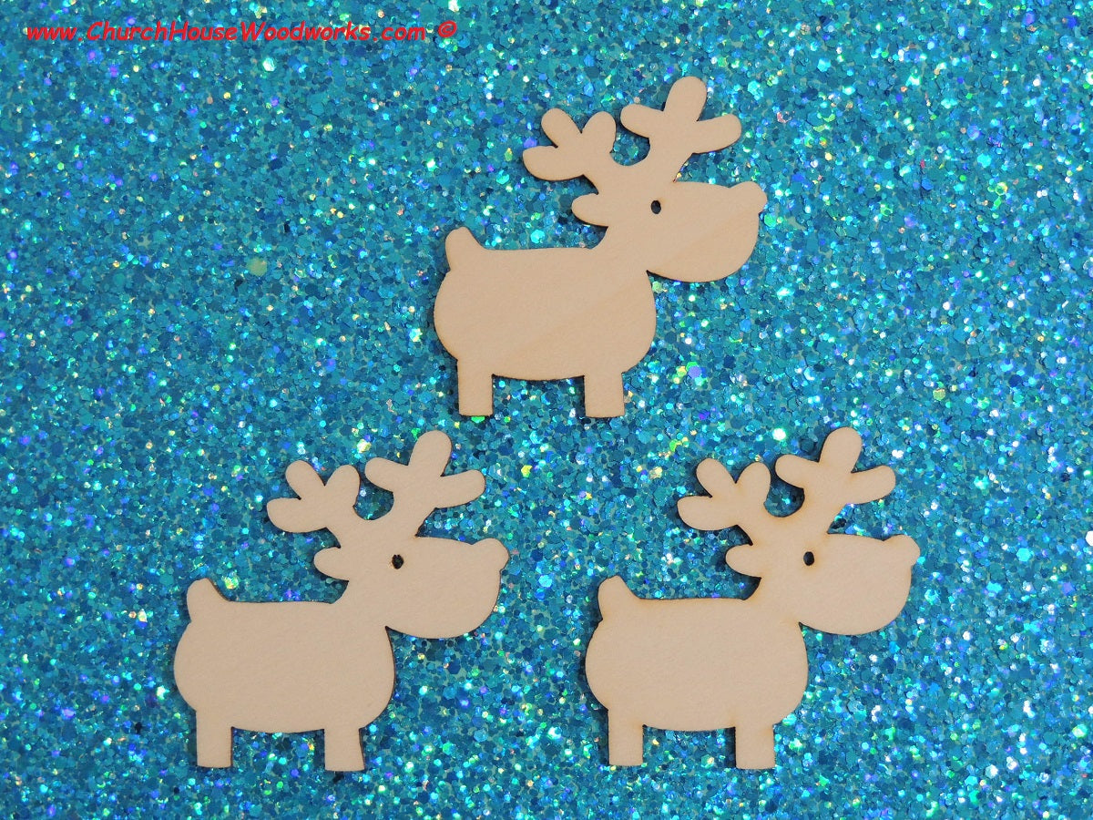 2 Inch wood reindeer snowman gingerbread man for crafts shapes woodcraft Christmas ornaments scrapbooks favors holiday