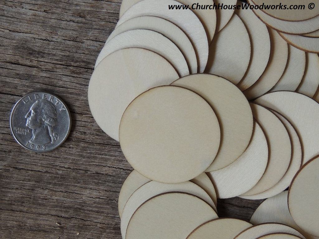 1.5 inch wood circle wooden coin craft disk DIY