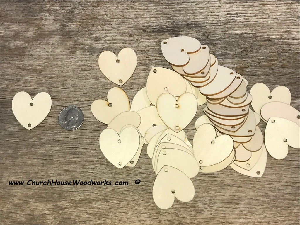 1.5 wood heart tags with two holes family calendar crafts weddings