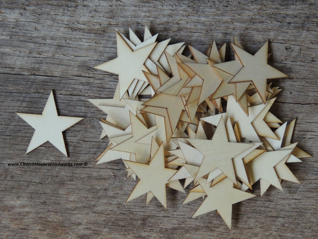 Wood Stars for flag making, crafts, diy, Christmas ornaments, decor