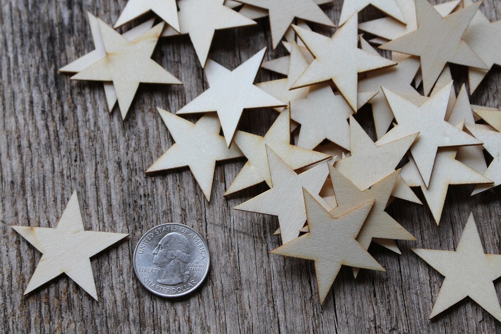1.5 inch wood star for crafts flags decor ornaments wooden embellishments scrapbooking