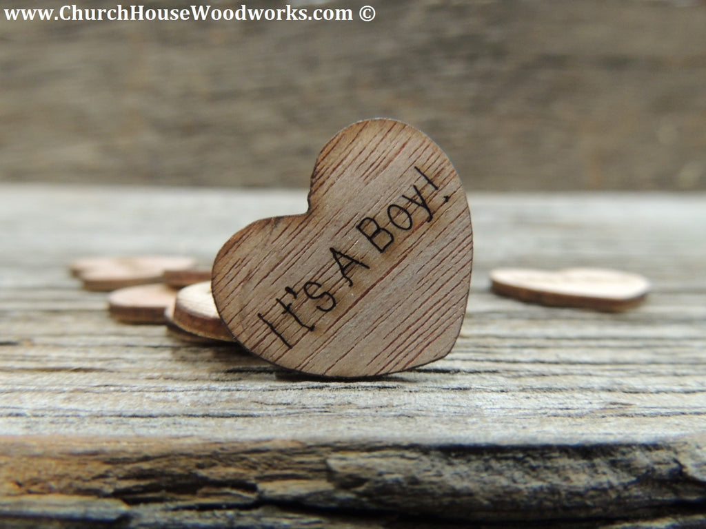 It's A Boy Wooden Heart Table Confetti Decorations for Baby Shower