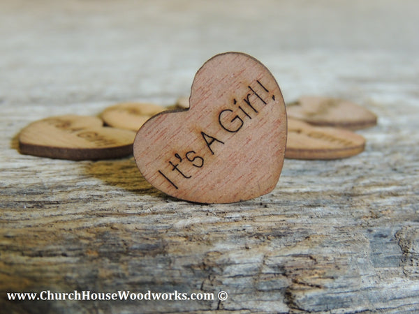 """It's A Girl"" Wooden Heart Table Confetti Decorations for Baby Shower"