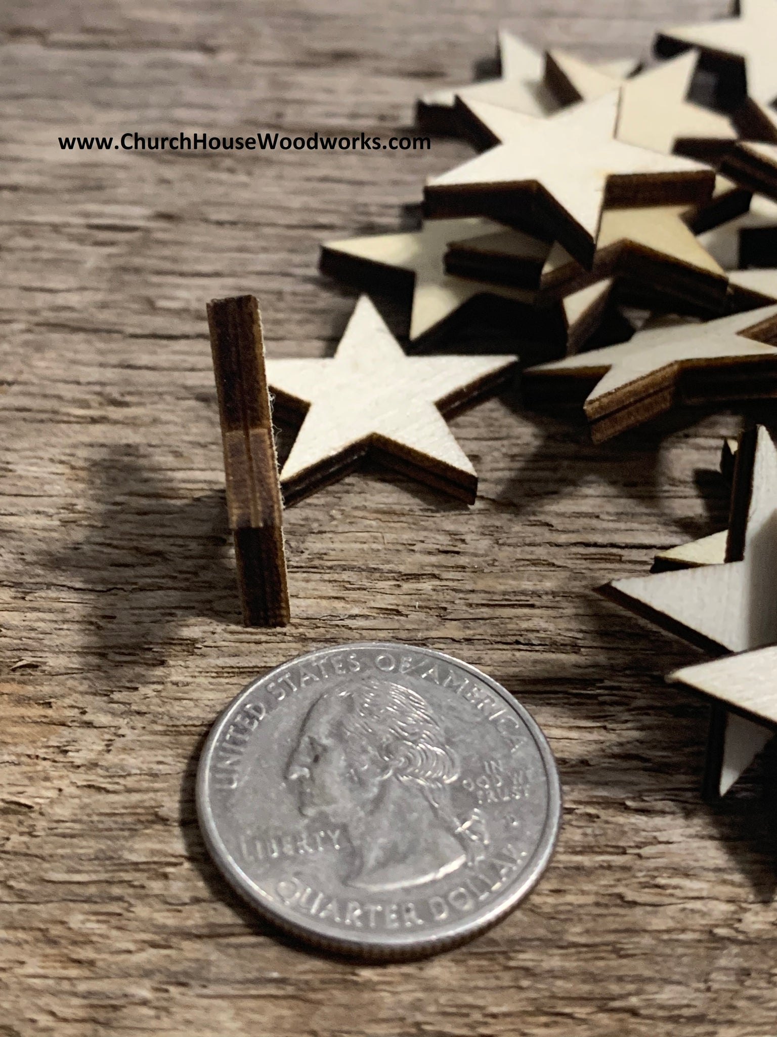 1 inch thick cut wood stars for wooden flags crafts 4mm