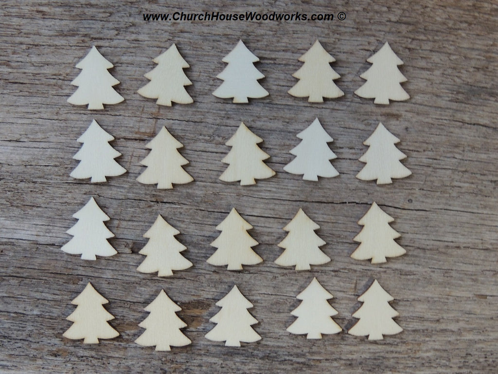 1 inch wood christmas tree wooden shapes diy craft ornament making supplies tiny little mini - Wooden Christmas Decorations