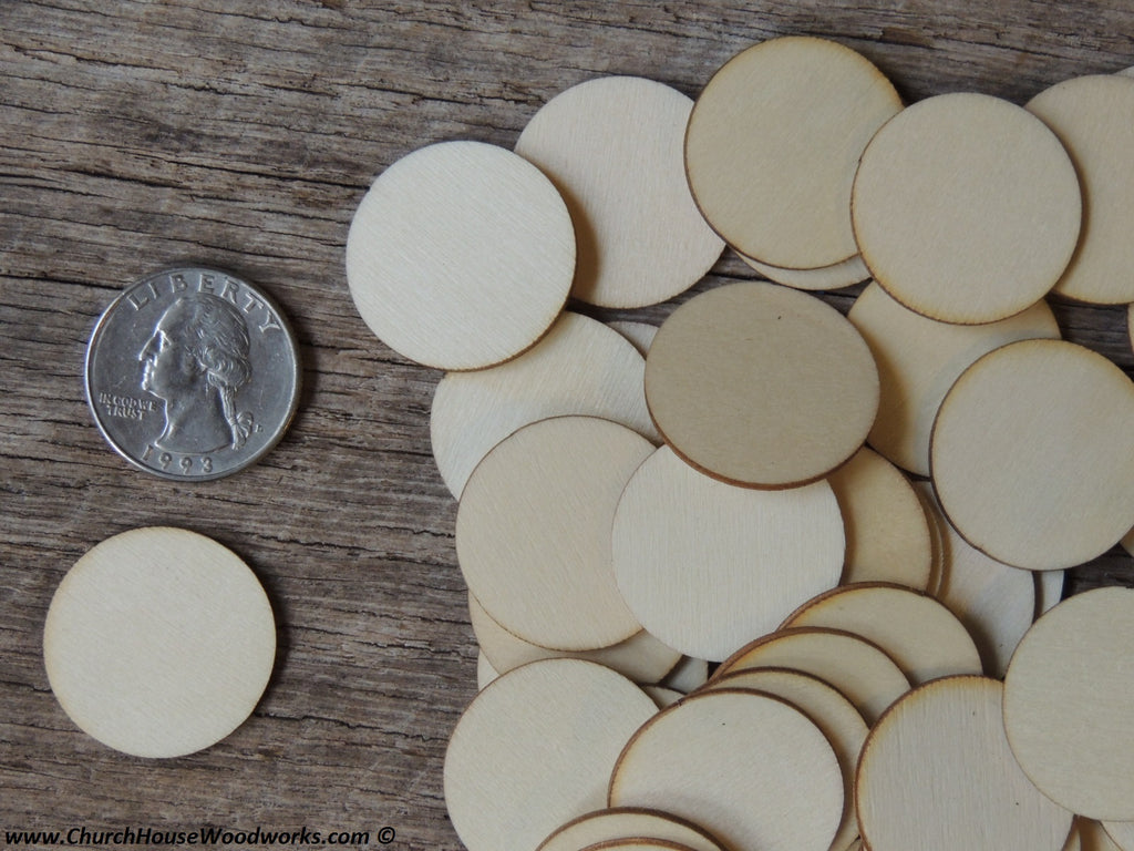 Wood craft disc 1 inch for coins checkers game pieces scarpbooking