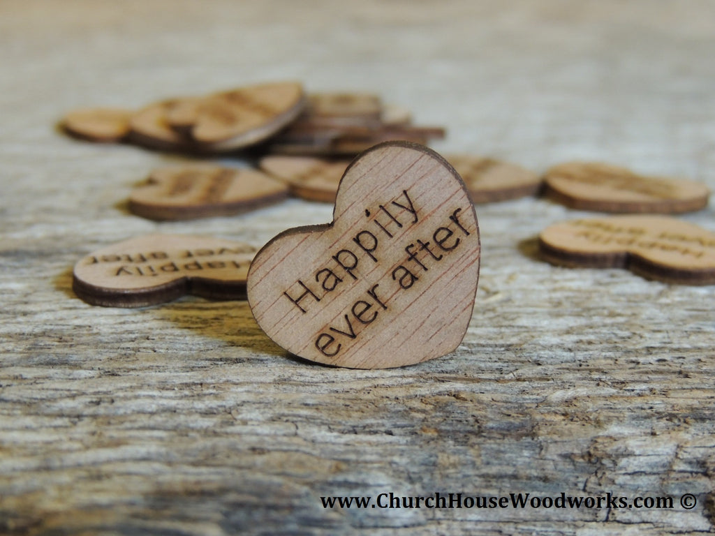 Wood Heart Wedding Confetti- Mr., Mrs, I Do, We Do, Bride, Groom, Happily Ever After, Once Upon A Time, Best Day Ever by Church House Woodworks. Great for Rustic Weddings, Barn Weddings, Country Weddings, Shabby Chic Weddings, etc.