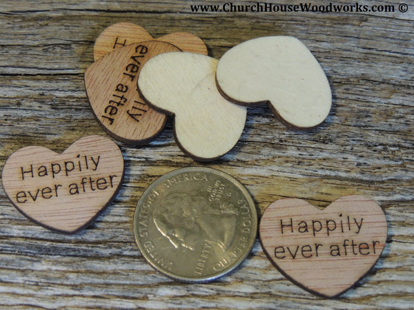 Happily ever after Wood Burned Hearts for Rustic Weddings