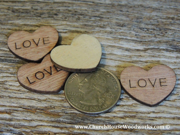 LOVE Wood Burned Hearts for Rustic Weddings