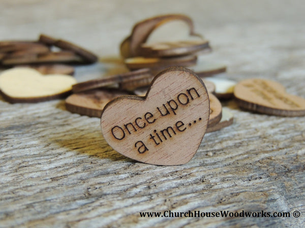 Once upon a time Wood Burned Hearts for Rustic Weddings