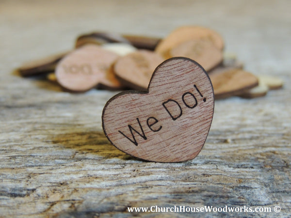 We Do Wood Burned Hearts for Rustic Weddings