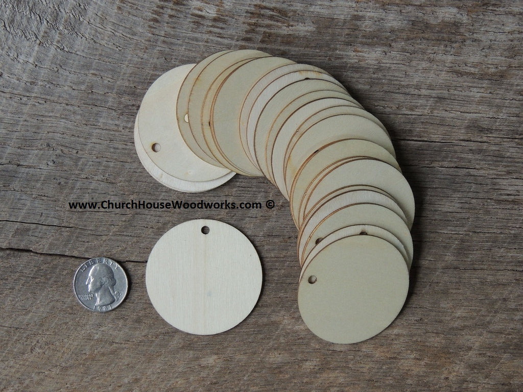 Wood craft disc 2 inch for coins checkers game pieces scarpbooking  1 hole tags