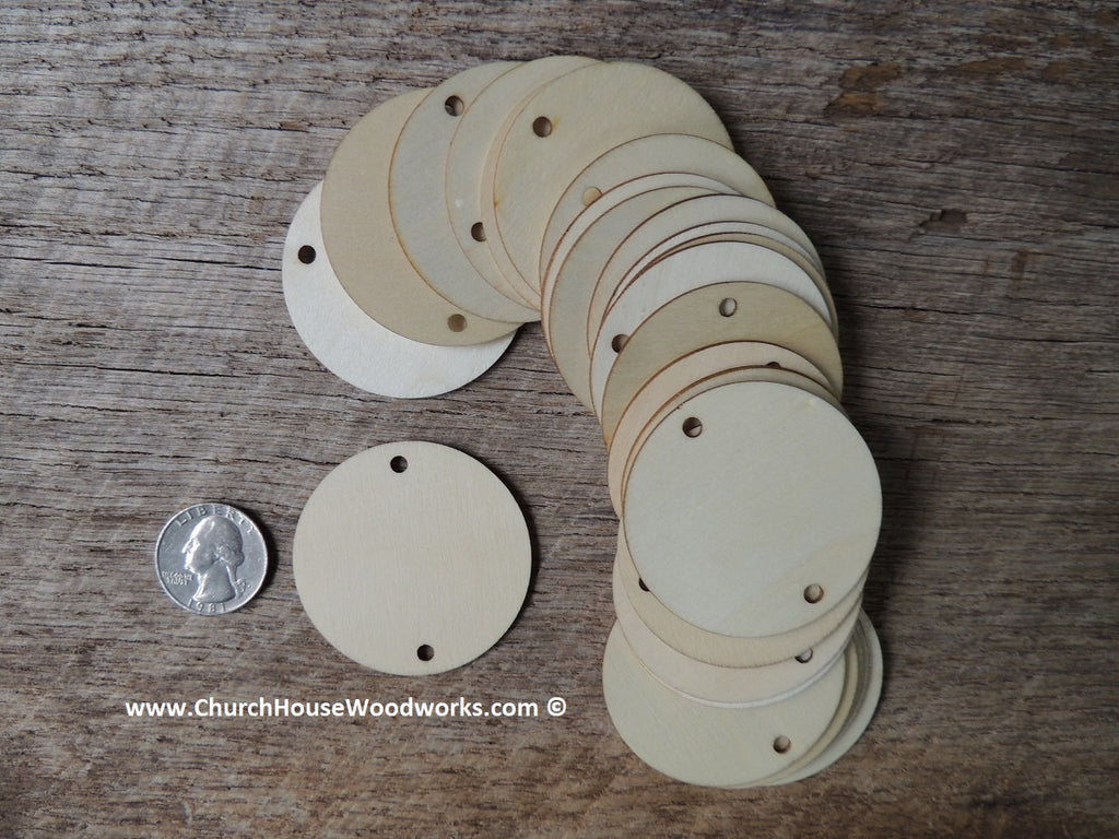 Wood craft disc 2 inch for coins checkers game pieces scarpbooking  with 2 holes ornaments