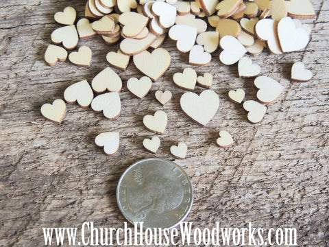 50 Tiny Mini Wood Hearts, Wood Confetti Hearts- Rustic Wedding Decor- Table Decorations- Wooden Hearts- Guest Book Decor- DIY Craft Supplies Church House Woodworks