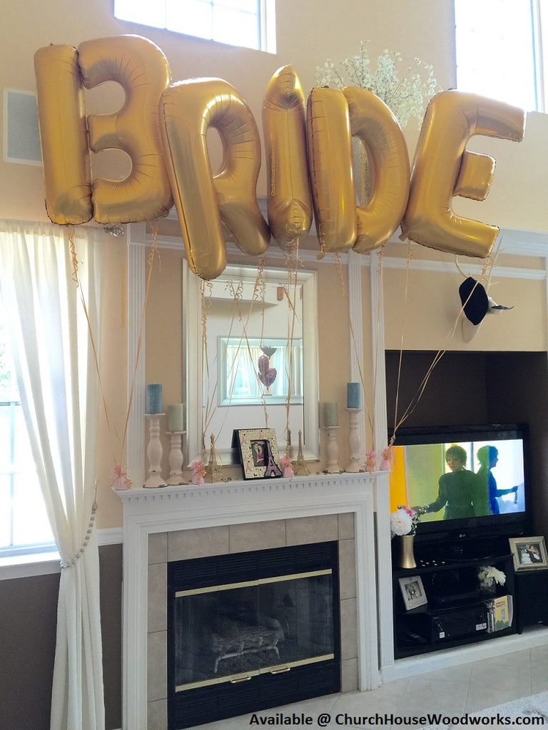 Giant Gold BRIDE Balloons 40 inches tall Bridal Shower Wedding Balloons Bride Broom