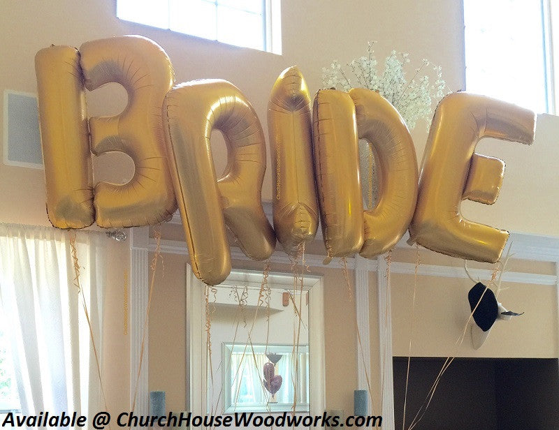 Bride bridal shower giant letter balloons gold for weddings