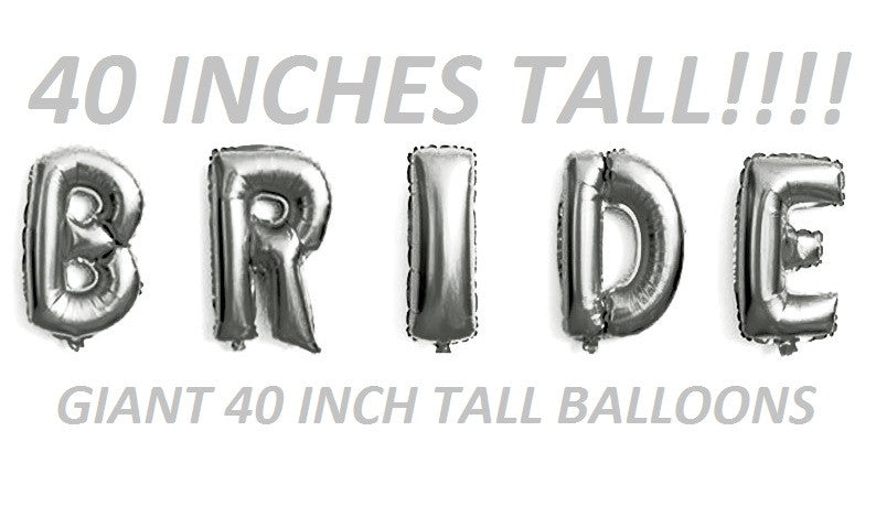 Bride bridal shower giant letter balloons SILVER for weddings