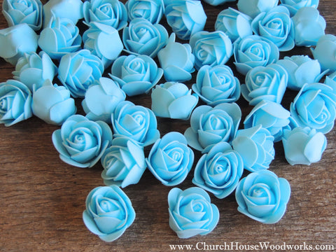 Blue Pastel Foam Flower Roses Confetti Table Decorations Scatter Church House Woodworks DIY Do it yourself