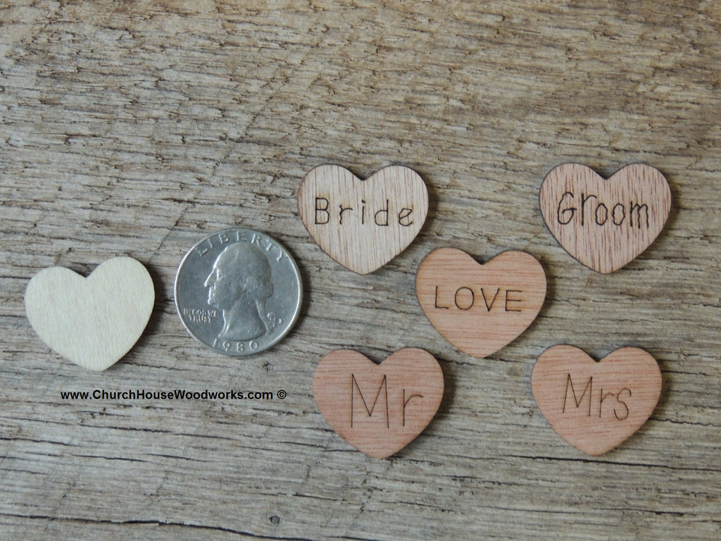 Bride, Groom, Mr, Mrs, Love Wood heart shaped rustic wedding confetti