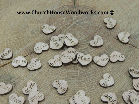 Bride Groom wood hearts with words on them confetti bridal shower wedding shower wedding decorations