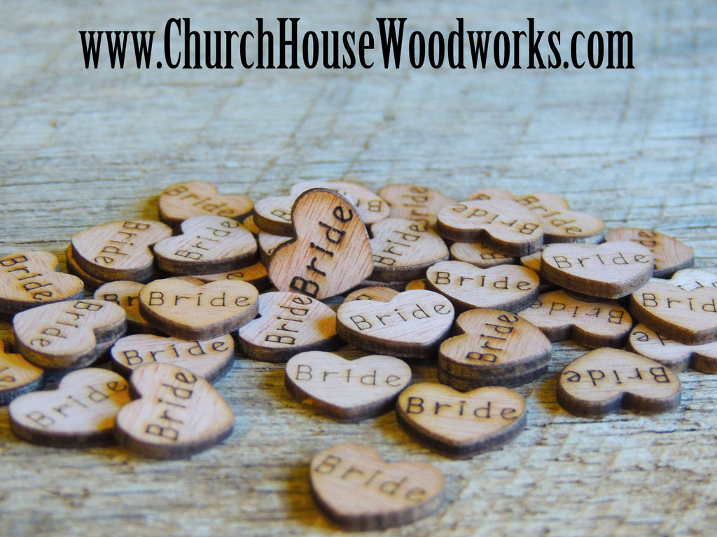 Bride Rustic Wood Heart Confetti for Rustic Weddings, Barn Weddings, Country Weddings, Farm Weddings, Shabby Chic Weddings, by Church House Woodworks