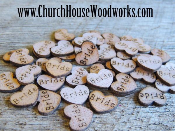 Groom Bride Wood Burned Engraved Hearts Rustic Weddings Barn Weddings Country Wedding Table Decorations Scatter Confetti Decor Church House Woodworks