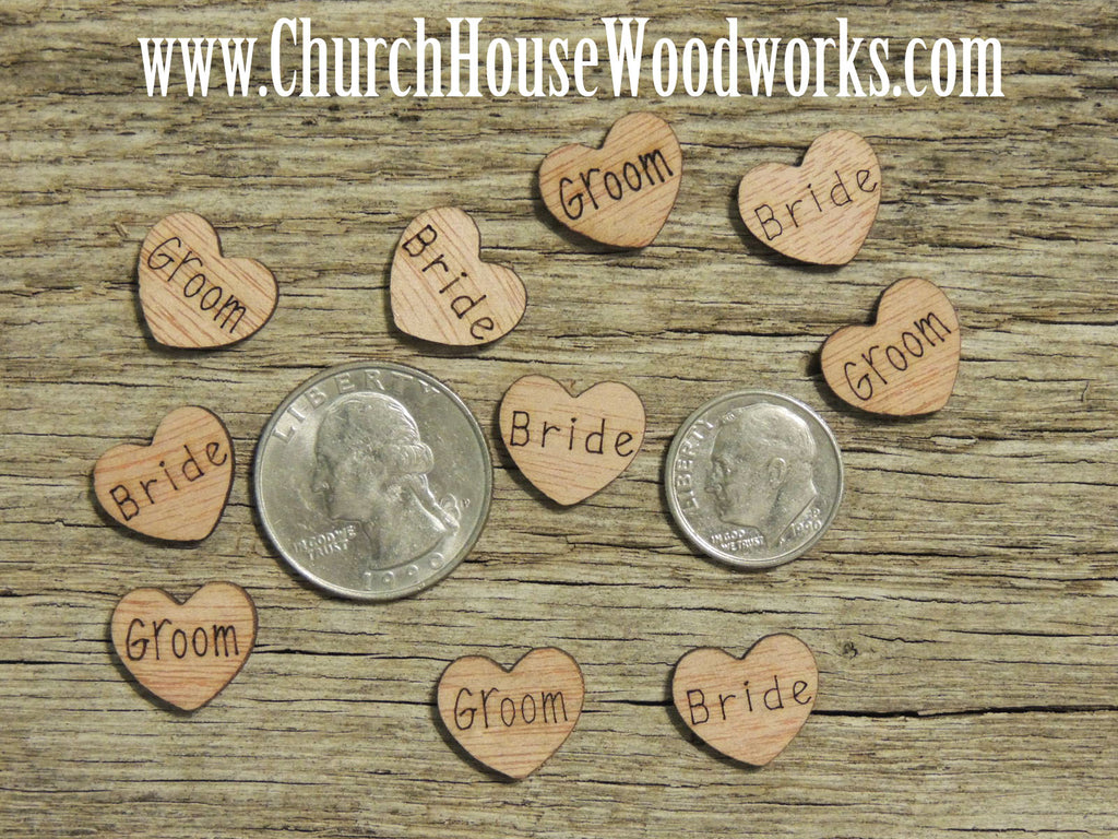 Bride and Groom Wood Heart Confetti for Rustic Weddings Barn Weddings, Country Weddings, Farm Weddings, Shabby Chic Weddings by Church House Woodworks