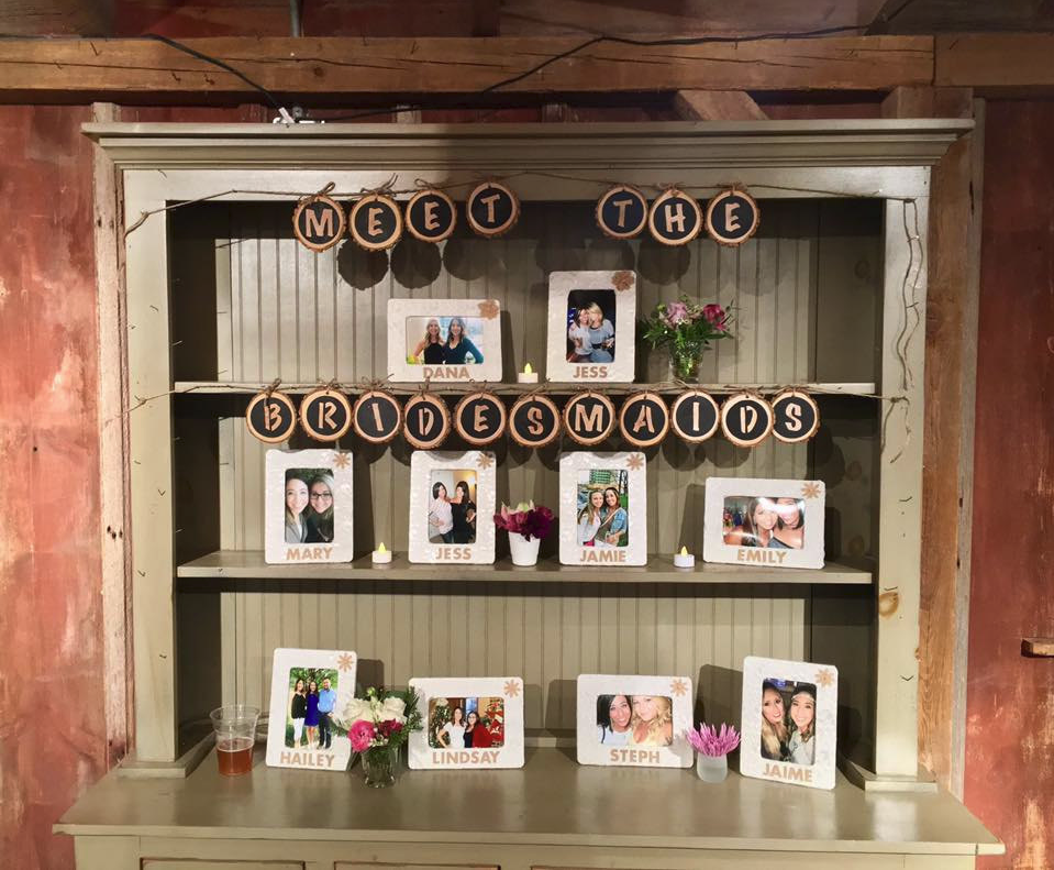 Meet the Bridesmaids booth table pictures photos idea with wood slice letters