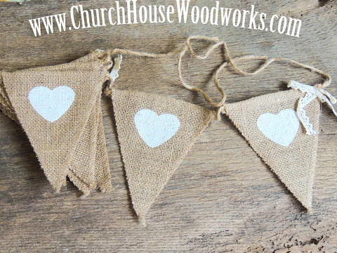 Heart Burlap Bunting Banner - For Rustic Weddings, Events, Decor, Birthdays, Triangle, Flag, Candy Bar Burlap Sign
