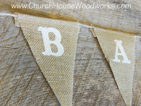 Candy Bar Burlap Flag Bunting Banner Wedding Birthday Church House Woodworks