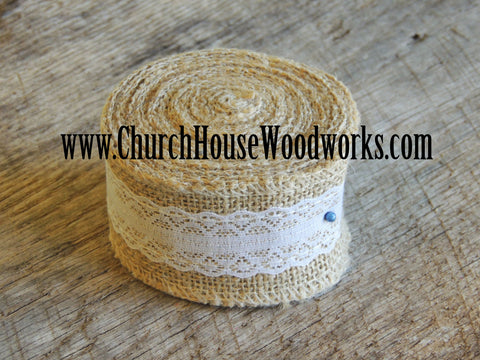 Jute Burlap Ribbon, 5 yards by 2 inches wide, Jute Burlap Trim Ribbon with Ivory Lace, Rustic Wedding decor, Burlap Supplies, Bows,Church House Woodworks