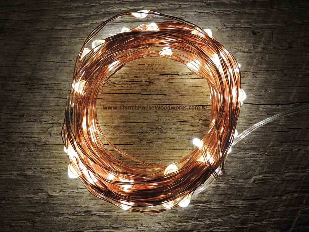 100 LED Warm White on Copper Wire Fairy String Lights Christmas Rustic Wedding Decor
