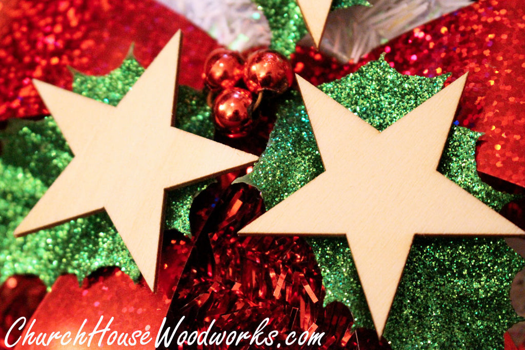 Wooden Star Christmas Tree Ornaments Miniatures Christmas Village Set DIY Craft Idea- Set of 25- 2 Inch Wooden Christmas Tree Supplies Accessories by ChurchHouseWoodworks.com