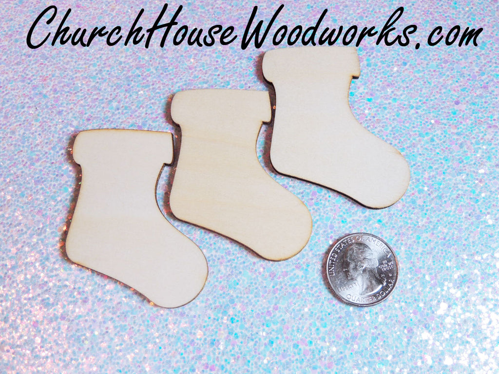 Wooden Stocking Christmas Tree Ornaments Miniatures Christmas Village Set DIY Craft Idea- Set of 25- 2 Inch Wooden Christmas Trees Supplies Accessories by ChurchHouseWoodworks.com