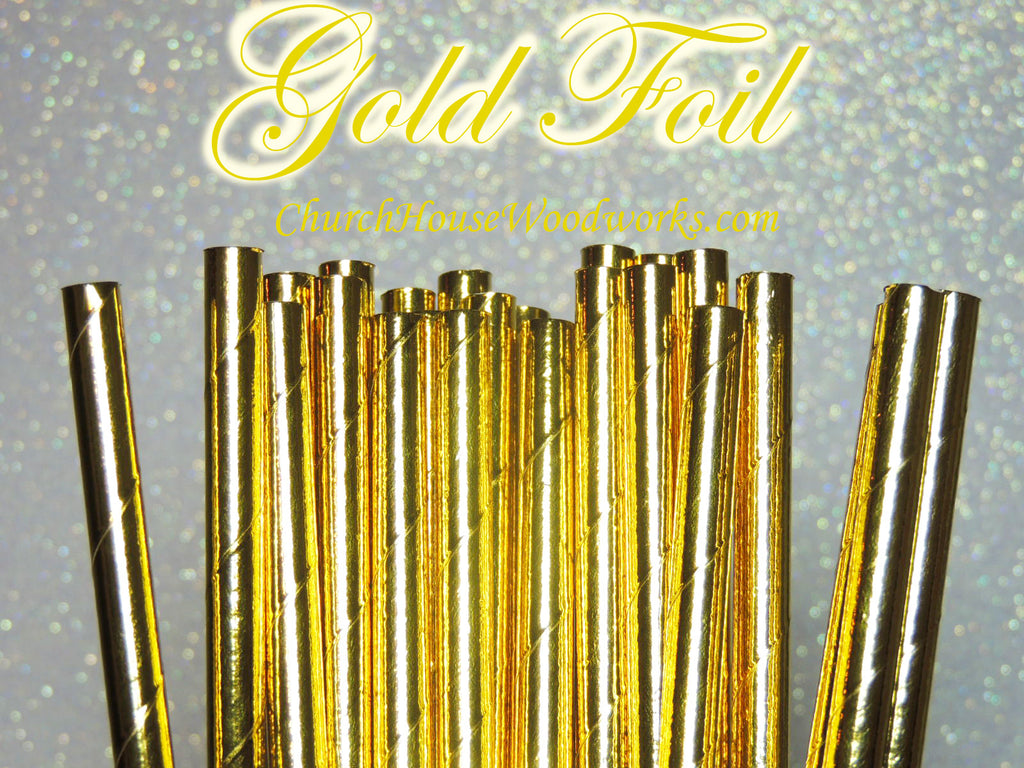 Gold Foil Paper Straws for Wedding Events Birthdays Decorations