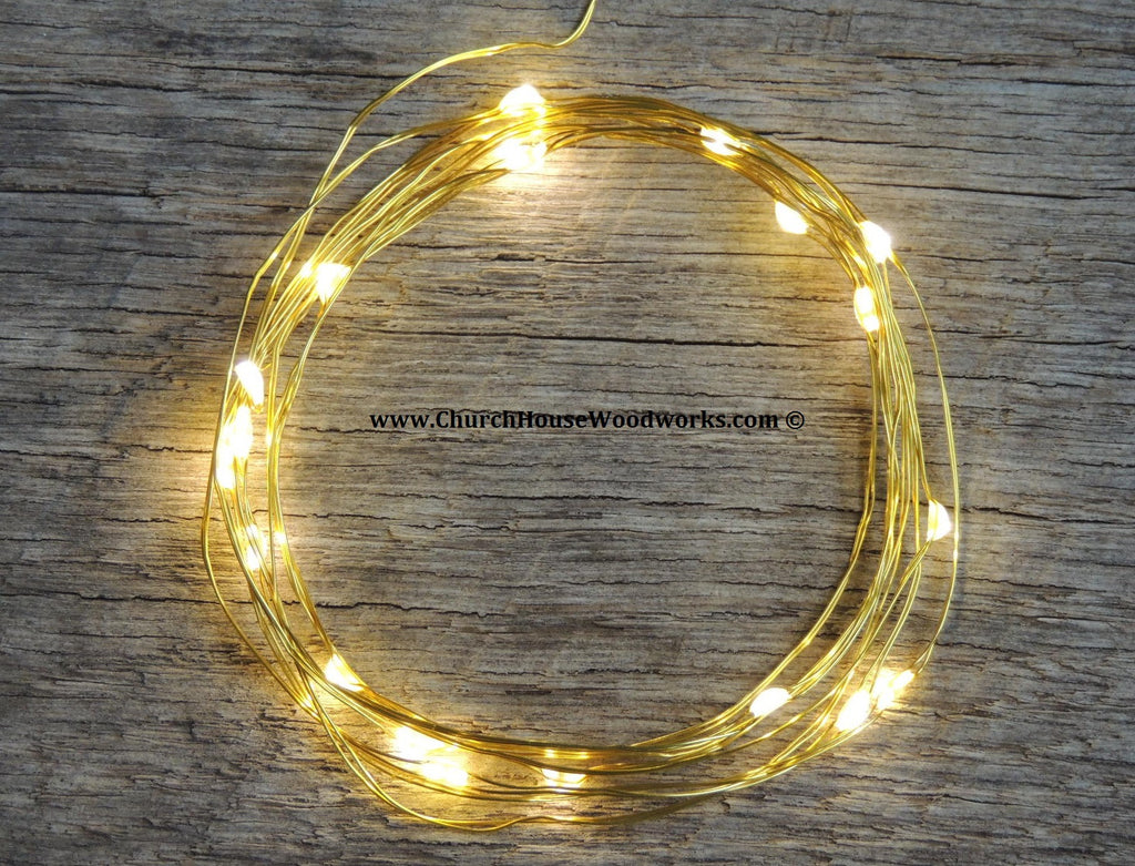 LED Fairy String Lights for rustic weddings wreaths mason jars warm white on Gold wire