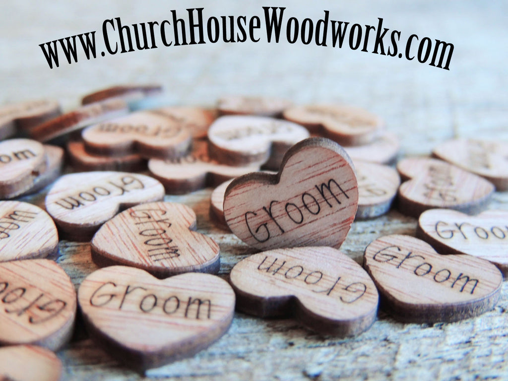 Groom Wood Heart Confetti for Rustic Weddings, Barn Weddings, Farm Weddings, Country Weddings, Shabby Chic Weddings by Church House Woodworks