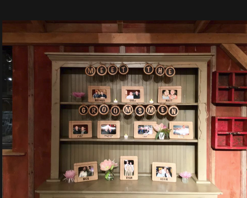 Meet the Groomsmen booth table pictures photos idea with wood slice letters