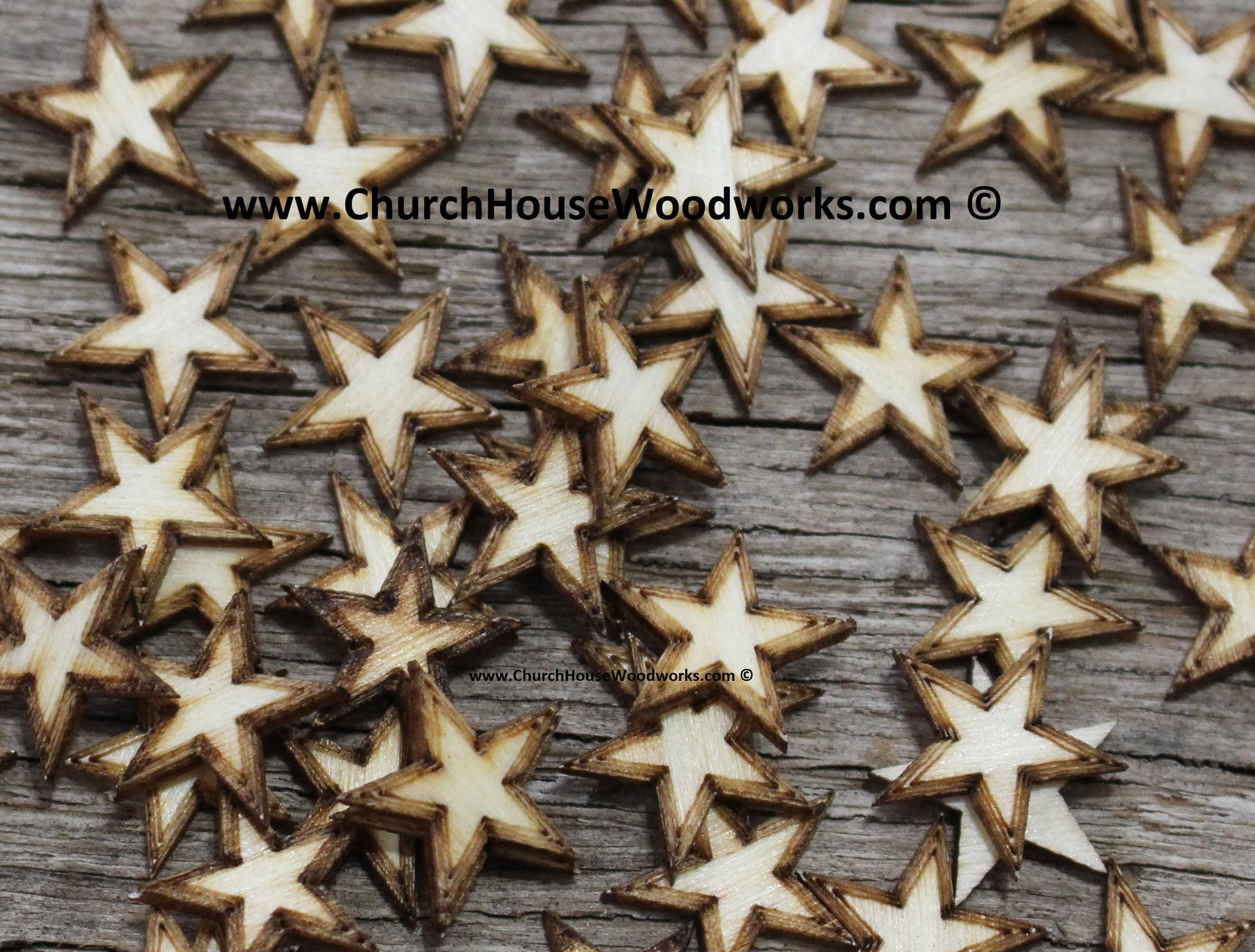 50 qty 1/2 inch Stars with BORDER Tiny Laser Cut Mini Wood Stars Half inch - Rustic Decor - Wooden Stars- DIY Craft Supplies 13mm Wood Flag