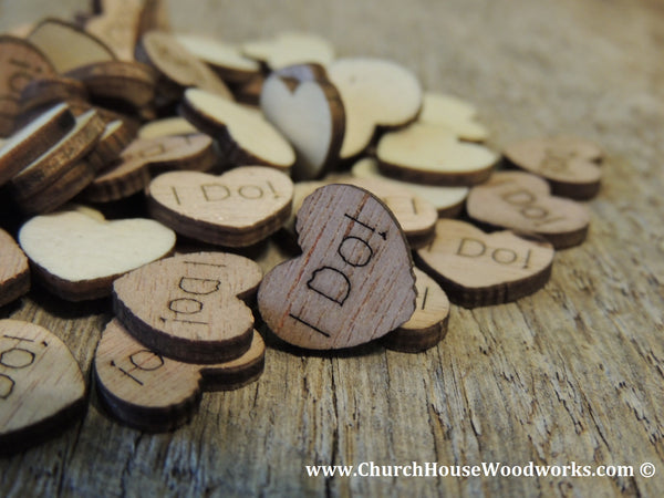 "Tiny Wooden Engraved ""I Do!"" Hearts."