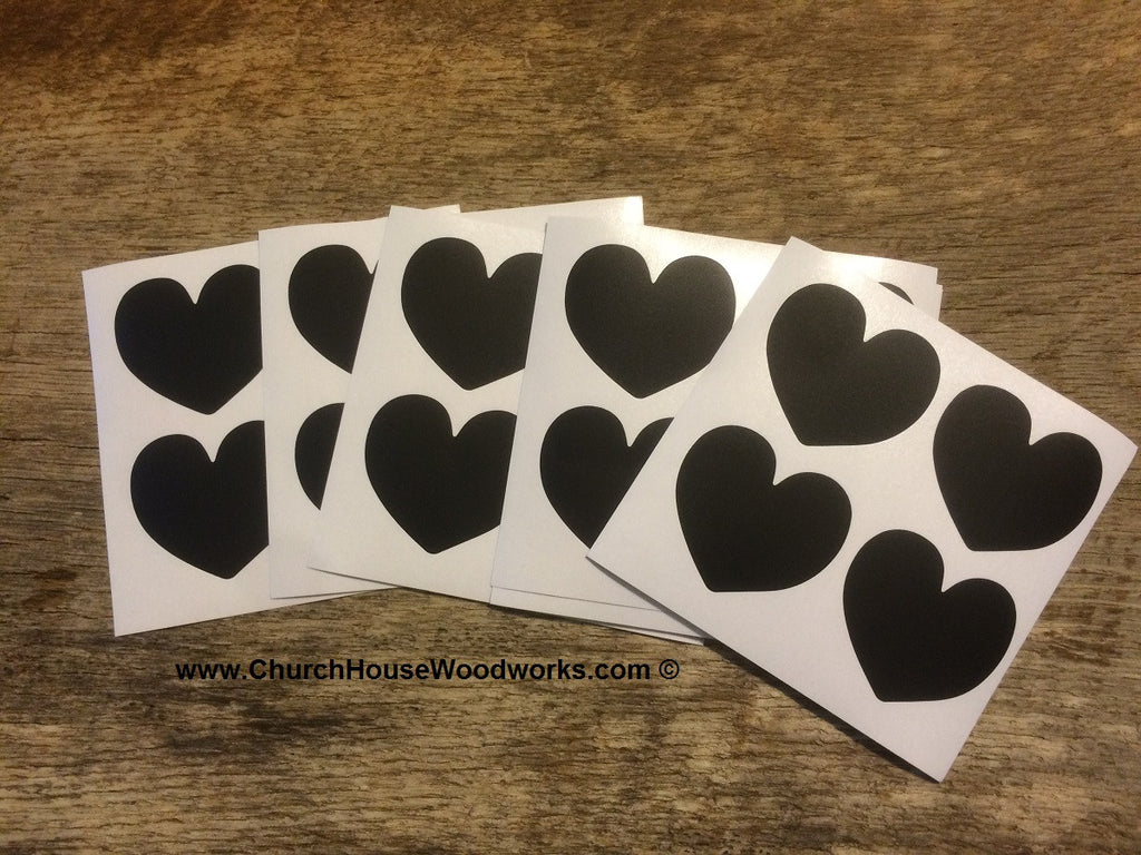 Heart Shape Vinyl Chalkboard Stickers Black